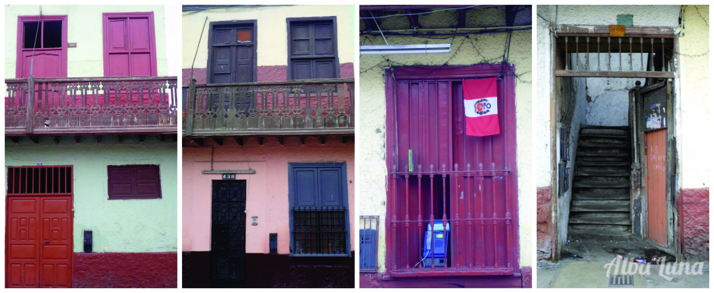 Balcones y puertas destartalados en Lima